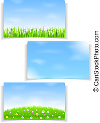 Summer banners with blue sky and green grass