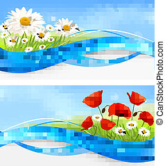 Summer banners with flowers