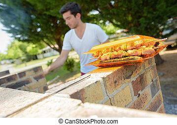 summer barbecue at campsite