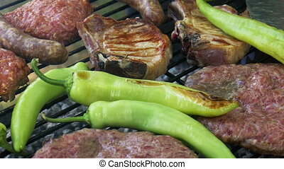 Summer Bbq Grill T-Bone Steak And Burgers