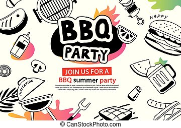 Summer BBQ party in doodles symbol and objects icon for background. Barbecue picnic invitation poster with hand drawn style. Use for labels, stickers, badges, poster, flyer, banner, illustration design.