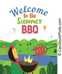 Summer bbq welcome vector flat color poster