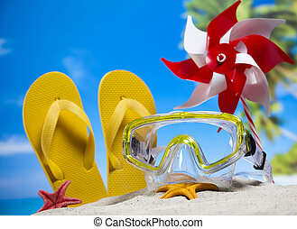 Summer Beach Background, Flip flops