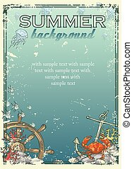 Summer beach background with sample text.