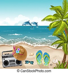 Summer beach background with sea .
