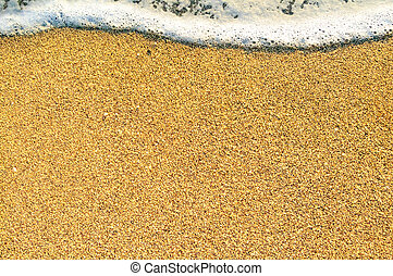 Summer Beach Background with Sea Waves and Sand. Travel and Vacation Concept.