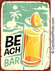 Summer beach bar retro sign design