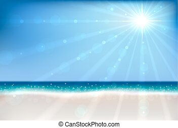 Summer beach bokeh vector background with sun flare.