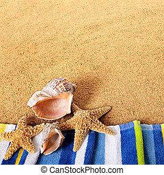 Summer beach border starfish background square