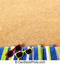 Summer beach border sunglasses background square format