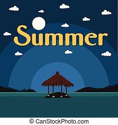 Summer Beach Bungalow On Island Dark Blue Background Vector Image