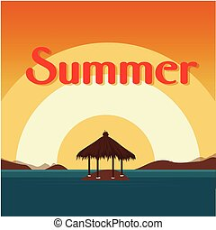 Summer Beach Bungalow On Island Sunset Background Vector Image