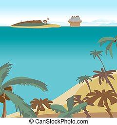 Summer beach concept background with space for text. Sea landscape summer beach, palms, island, cruise ship. Vector cartoon flat illustration. Beach, sea, island and a cruise liner in the distance