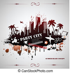 Summer beach concept downtown party city