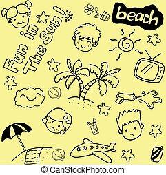 Summer beach doodle art