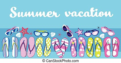 Summer Beach Flip Flops Sunglasses Tropical Vacation Banner...