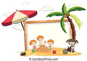 Summer beach holiday frame
