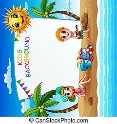 Summer beach holiday frame illustration