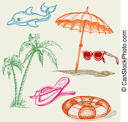 Summer beach holiday items: inflatable dolphin, life buoy, ...