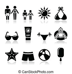 Summer beach holidays vector icons