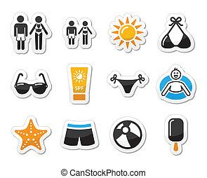 Summer beach holidays vector icons