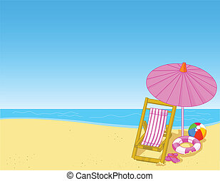 Summer beach - Illustration of summer beach with chaise ...