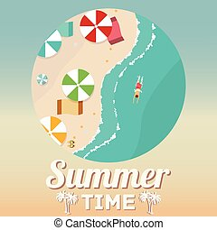 Summer beach in flat design, aerial view, sea side and umbrellas, vector illustration