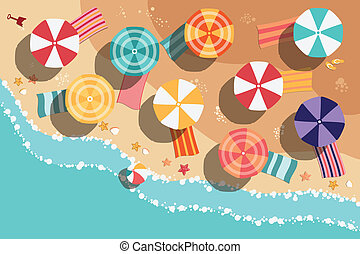 Summer beach in flat design, sea side and beach items, ...