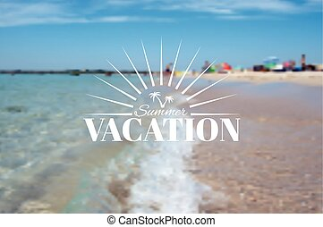Summer beach landscape and vacation insignia