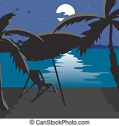 Summer beach landscape at night. Silhouettes of palm trees, a beach umbrella, chaise in the moonlight. Lunar path on water in summer night vacation. Vector flat cartoon illustration.