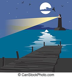 Summer beach landscape at night with a wooden pier and a lighthouse shining in the distance. Lunar path on water in summer night vacation. Vector flat cartoon illustration.