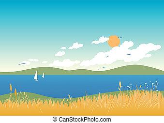 Summer beach landscape