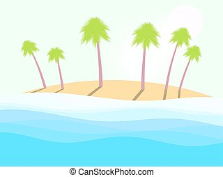 Summer beach. Landscape with palm trees, sea waves and the sun. Vector illustration