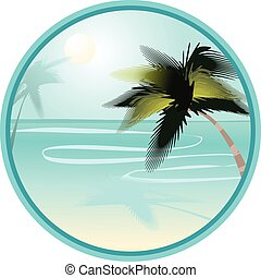 summer beach landscape with palms in round