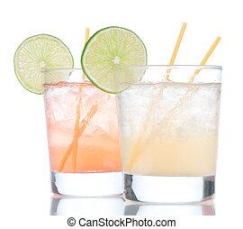 Summer beach margarita cocktails drink in spirit glasses