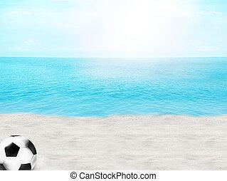 summer beach ocean blue sky 3d illustration