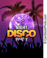Summer beach party disco poster design with disco ball element and people silhouette. Vector beach party flyer with palm. Music beat template