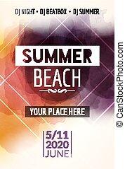 Summer beach party flyer template design. Summer party design layout event