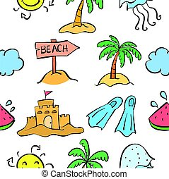 Summer beach pattern doodles