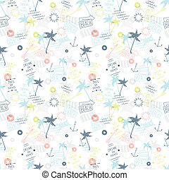 Summer beach pattern in old school tattoo style, vector...
