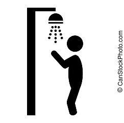 Summer beach pool shower flat people pictogram icon isolated...