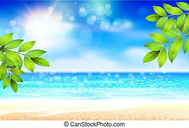 Summer Background. Nature green leaf on Tropical beach with yellow sand, blue ocean and sky. Bokeh sun light wawe. Vacation or paradise business travel concept. Waves and sunlight.