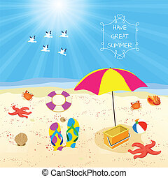 Summer beach sand design template