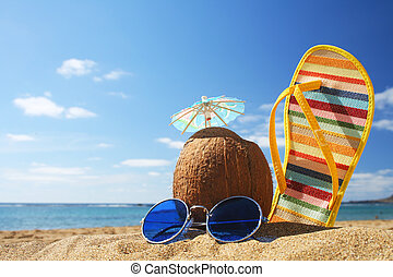 Summer Beach Scene - Stilllife on the beach with sunglasses...