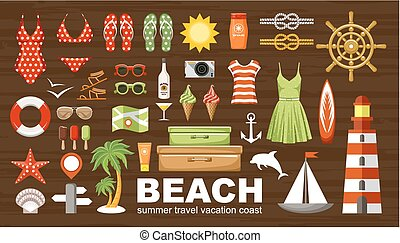 Summer beach set. vector
