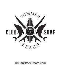 Summer beach surf club logo template, black and white vector...