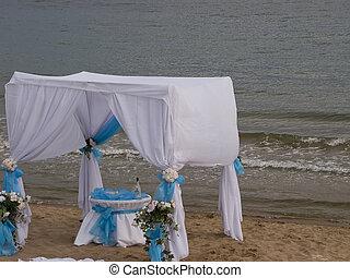 Summer beach tent near the sea on Bulgarian seaside