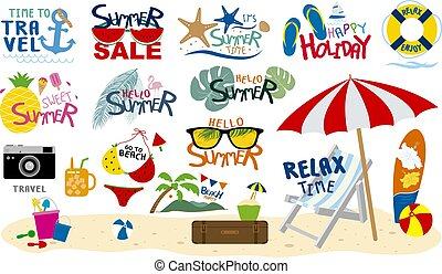 Summer beach travel tropical and holiday design on white background vector illustration