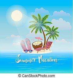 Summer Beach Vacation Banner. Exotic Tropical Island with Palm Trees, Sunglasses and Cocktail