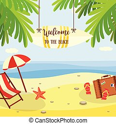Summer beach vacation banner with lounge and travel accessories on sand with palm trees near sea water.